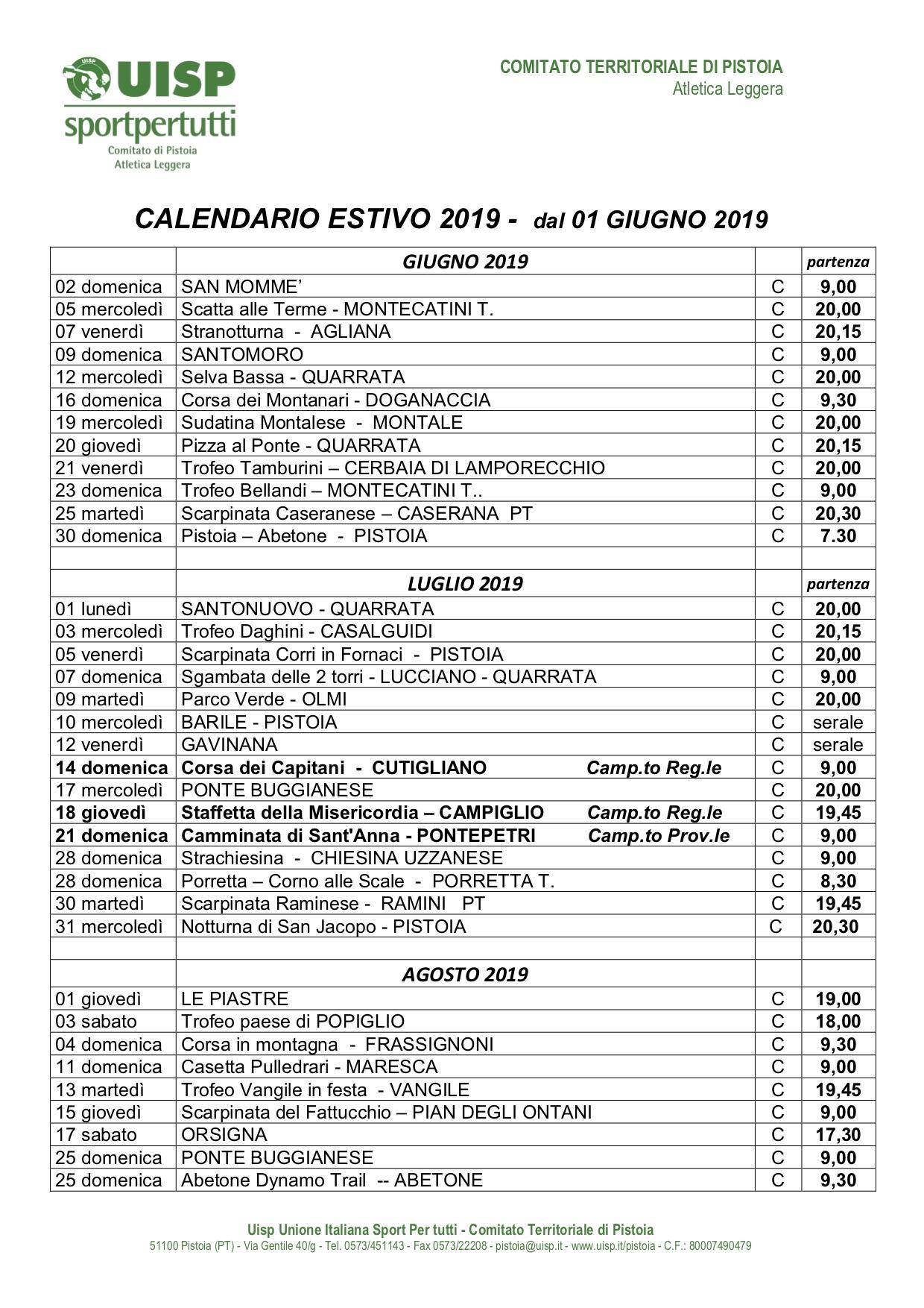 Calendario Podismo Piemonte.G P Cai Pistoia Gruppo Podistico